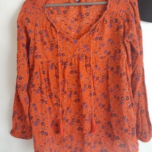 Old Navy orange boho floral tunic small tassle